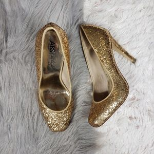 ABS SCHWARTZ Gold Glitter Heeled Pumps